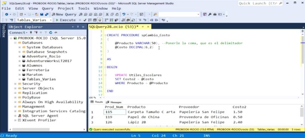 Procedimientos Almacenados en SQL | Stored Procedures